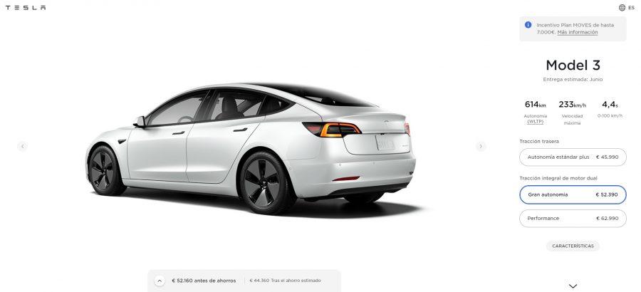 Configurador Tesla Model 3 Gran Autonomía a 24 de mayo de 2021