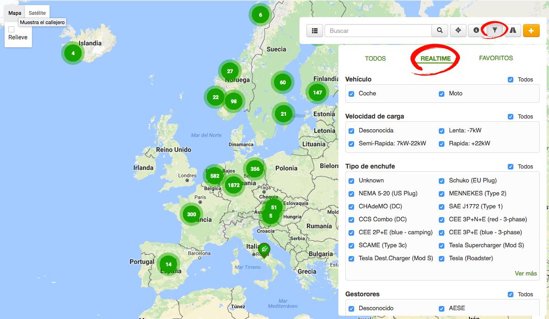 Mapa de puntos de carga en Europa de la página de electromaps